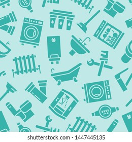 Plumbing service vector seamless pattern with flat silhouette icons of house bathroom equipment, faucet, toilet, washing machine, dishwasher. Plumber repair illustration, signs for handyman services.