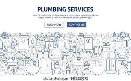 Plumbing Services Banner Design. Vector Illustration of Outline Design.