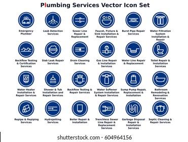 Plumbing Services Vector Icon Set