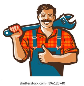 plumbing services vector logo. plumber worker or repair icon