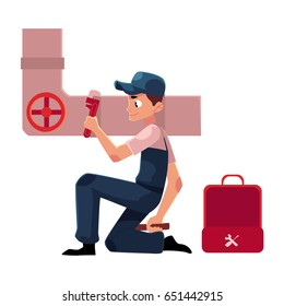 Plumbing specialist with wrench and toolbox repairing sewer pipe, cartoon vector illustration isolated on white background. Plumber, plumbing specialist, repairman at work, fixing sewer pipe system