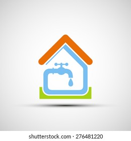 Plumbing system in the house. Vector icon