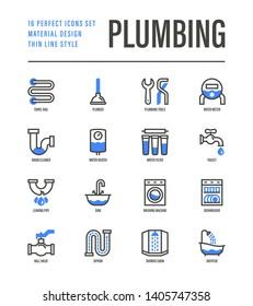 Plumbing thin line icons set. Water meter, bathtub, sink, water filter, faucet, washing machine, dishwasher, siphon, shower cabin, pipe, ball valve. Vector illustration.