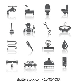 Plumbing tools pictograms set of shower bathroom toilet and water tube isolated vector illustration