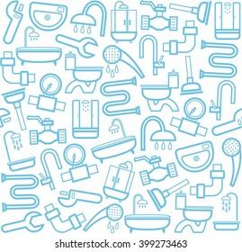 Plumbing and plumbing tools, white background. Linear icons of plumbing and plumbing tools on a white background. Vector flat background.