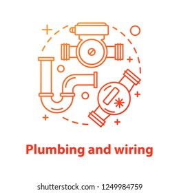 Plumbing and wiring concept icon. Sanitary equipment idea thin line illustration. Water pump, meter, pipe. Vector isolated outline drawing