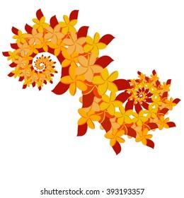 Plumeria Double Spiral - Orange