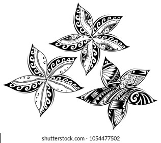 Plumeria flower as tribal tattoo in Maori and Samoan ethnic styles