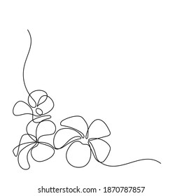 Plumeria flowers in continuous line art drawing style. Corner border  with fragrant tropical plumeria (frangipani, jasmine) flowers. Minimalist black linear sketch isolated on white background