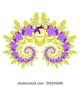 Plumeria Spiral - Green and Lavender