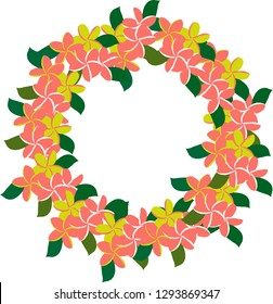 Plumeria wreath in living coral and green