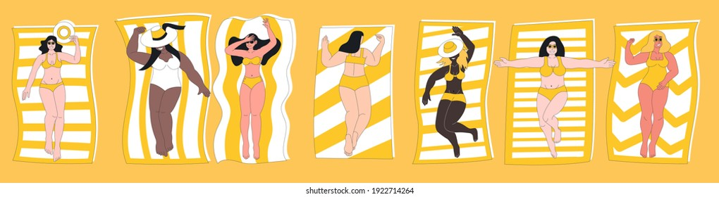 Plump, curvy woman in swimming suit sunbathing on beach. Plus size female body positive cartoon character laying on towel enjoy relaxation summer leisure paradise vacation vector illustration