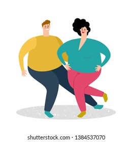 Plump dancing couple vector illustration. Fat man and fat woman dance