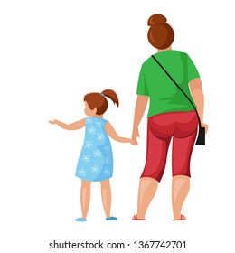 Plump fat mother with a child hold hands. A woman with a small daughter in summer clothes from the back. Flat design, isolated, vector illustration.