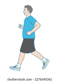 Plump man jogging to lose weight