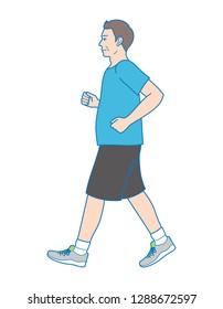 Plump man walking to lose weight