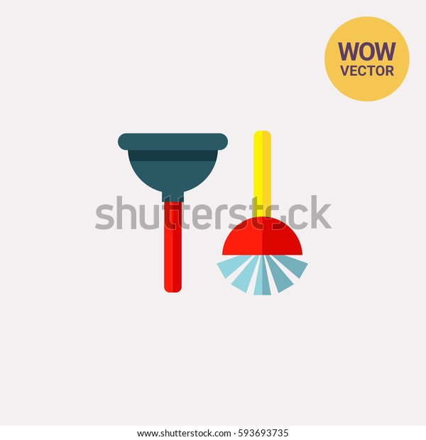Plunger and Toilet Brush Icon