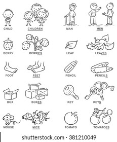 Plural of nouns in cartoon pictures, black and white, can be used as a teaching aid for foreign language learning