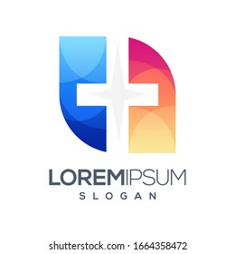 plus abstract colorful logo design