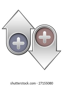 Plus or add icon on up and down arrow buttons