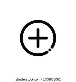 Plus Button Icon, Add Music Icon, Music Sign is in Line Style, Vector Icon