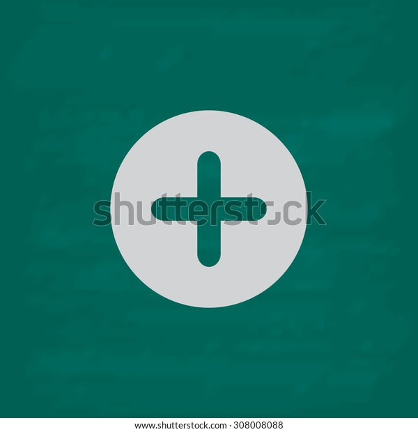 Plus circle or medicine cross. Icon. Imitation draw with white chalk on green chalkboard. Flat Pictogram and School board background. Vector illustration symbol