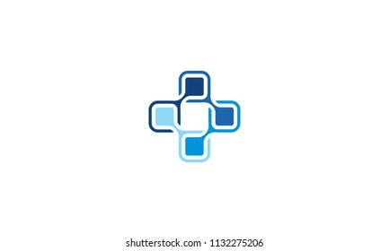 plus cross connect communication technology logo icon vector
