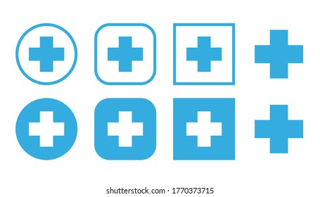 Plus icon in flat style. Set blue plus sign, medical cross, vector pharmacy design.