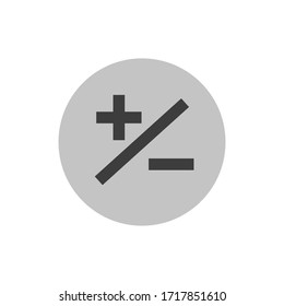 plus icon with minus together in a dark circle, emblem. logo, value, accounting vector illustration