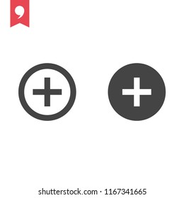 Plus icon simple add sign vector cross illustration