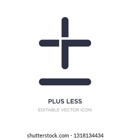 plus less icon on white background. Simple element illustration from Signs concept. plus less icon symbol design.