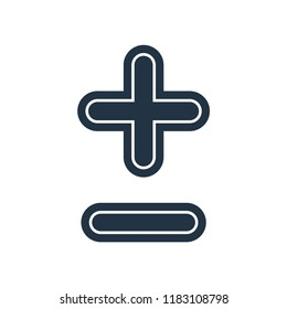 Plus less sign icon vector isolated on white background for your web and mobile app design, Plus less sign logo concept