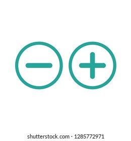 plus and minus circle flat vector icons isolated on white.  Add or plus purchase pictogram.  Good for web and mobile design.