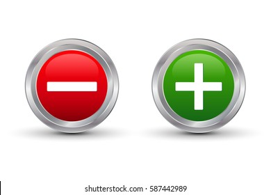 Plus and minus glossy button, vector illustration