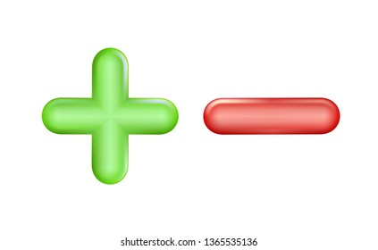 Plus and minus icon green, red symbol. Ui, ad. Design realistic plastic toy. Balance concept pluses or minuses, 3D isolated on light background. Eps 10.
