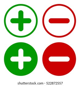Plus and minus round icon set in green and red colors, vector illustration.