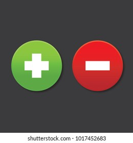 Plus and minus round shape icons with shadow, flat design + & -, green plus and red minus , vector, isolated on dark background