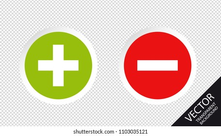 Plus And Minus Set - Vector Illustration - Isolated On Transparent Background
