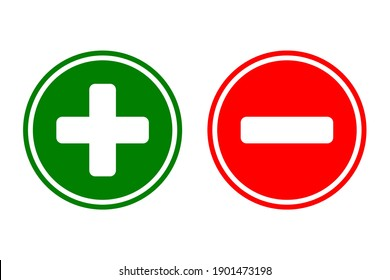 Plus and minus sign icon. Green plus and red minus symbol.