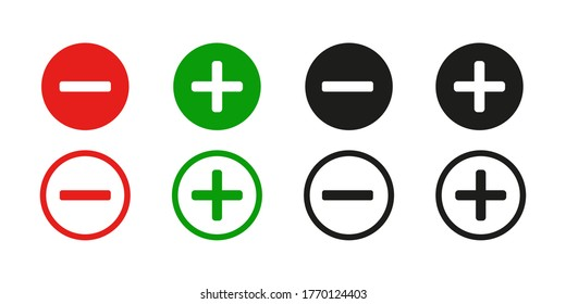 Plus and minus sign . Vector icon on white background.Red and green sign .   Set ,plus and minus sign. 10 eps