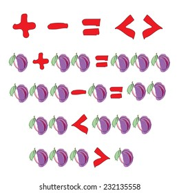 Plus and minus signs, equality signs. Children's mathematics. Vector illustration.