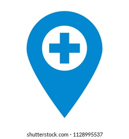Plus pin map icon. Hospital, Clinic. Map pointer.