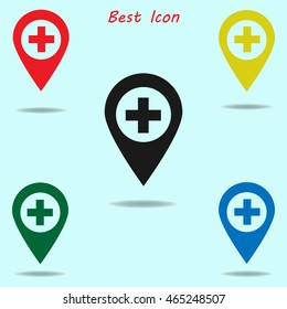 Plus pin map icon. Hospital, Clinic. Map pointer. Map markers. Vector illustration