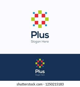 Plus. Pixel colorful pharmacy logotype. Plus medicine template