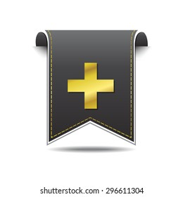 Plus Sign golden Vector Icon Design