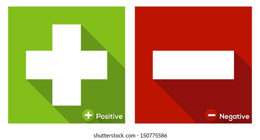 Plus sign in green and Minus sign in red / flat icon with long shadow