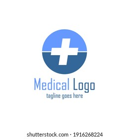 plus sign logo inside circle in light and dark blue color
