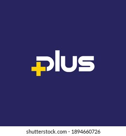 Plus sign and plus sign. Vector typographic logo