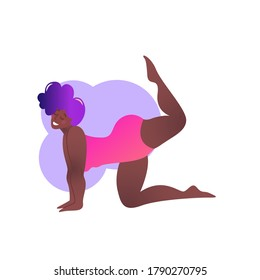 Plus size black curvy lady doing yoga class. Vector illustration isolated on white. Online home workout concept. Body positive. Attractive African American woman. Vyaghrasana or Tiger Pose