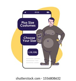 Plus size costumes smartphone app screen. Monkey suit. Party clothing for rent. Mobile phone displays, cartoon characters design mockup. Online store application telephone interface